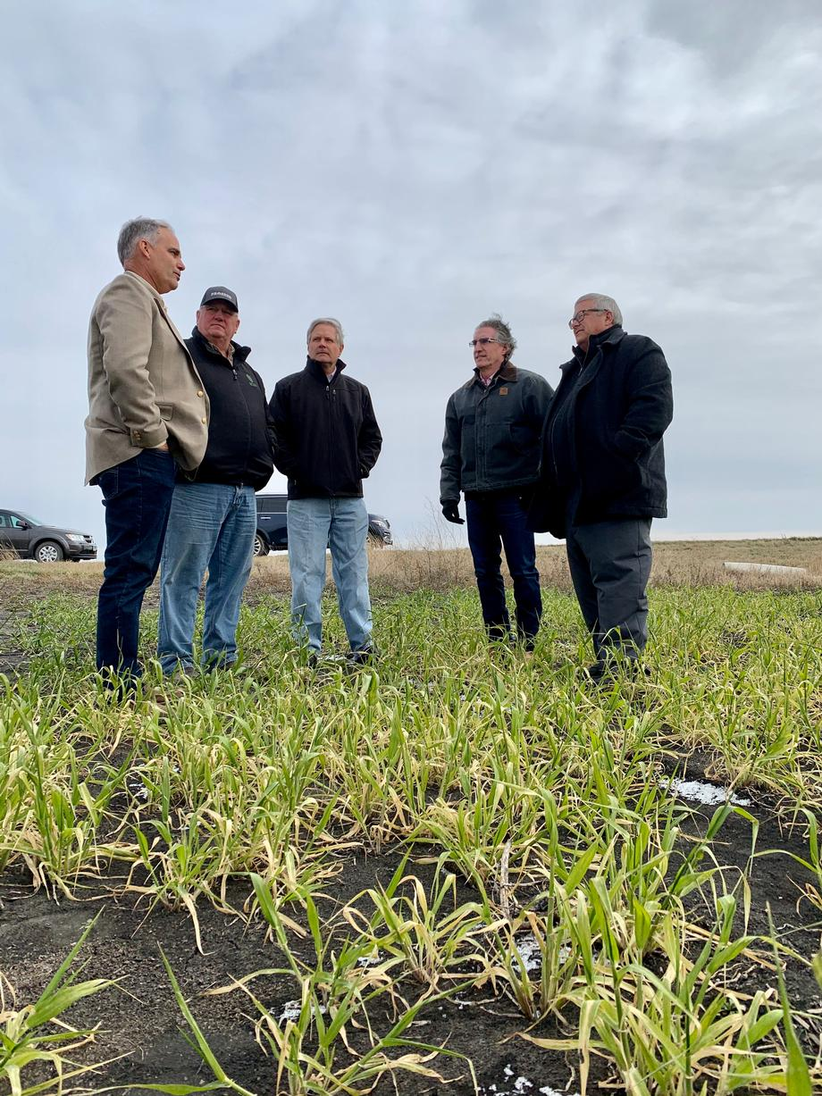 November 2019 - Senator Hoeven viewing field damage with Under Secretary Northey.