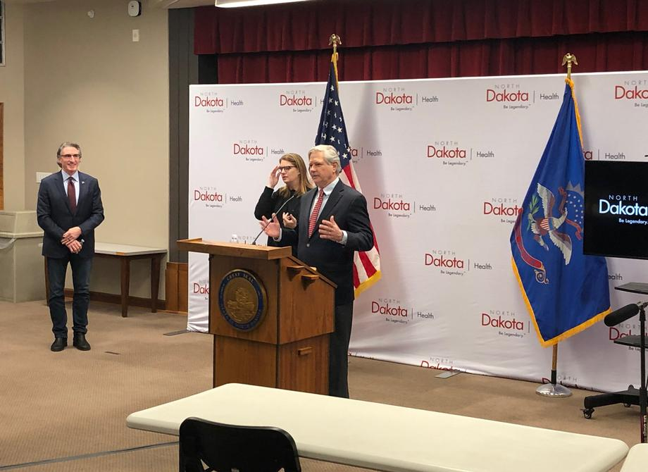 April 2020 - Senator Hoeven joins Governor Burgum for the coronavirus disease 2019 (COVID-19) press briefing.