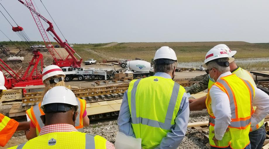 August 2020 - Senator Hoeven reviews the construction of the Red River Valley flood protection project's inlet and control structure with U.S. Army Corps of Engineers officials and local leaders.