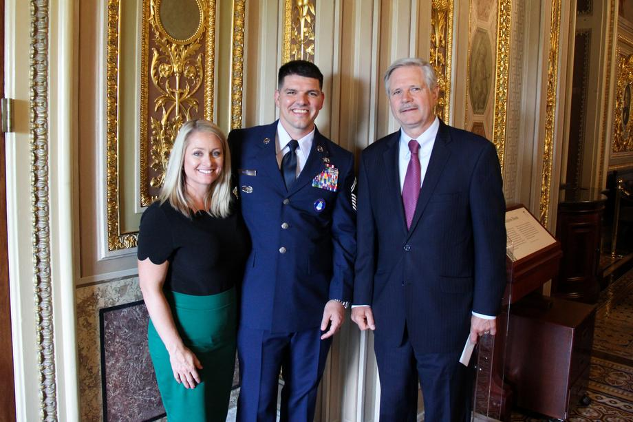 September 2019 - Senator Hoeven with Master Sgt. Philip McAlpin.