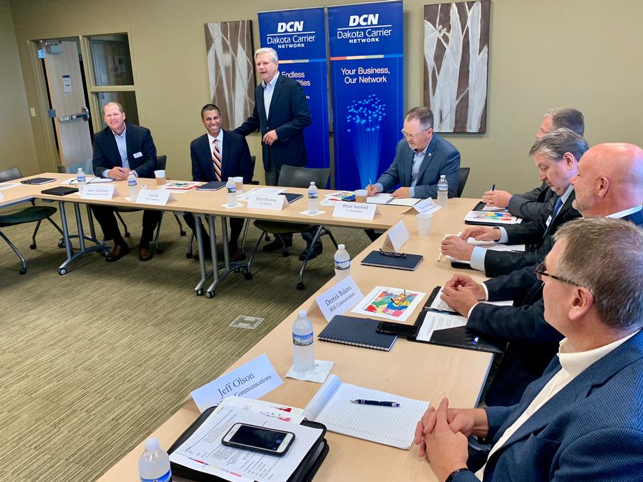 September 2019 - Senator Hoeven with FCC Chairman Pai in Bismarck.