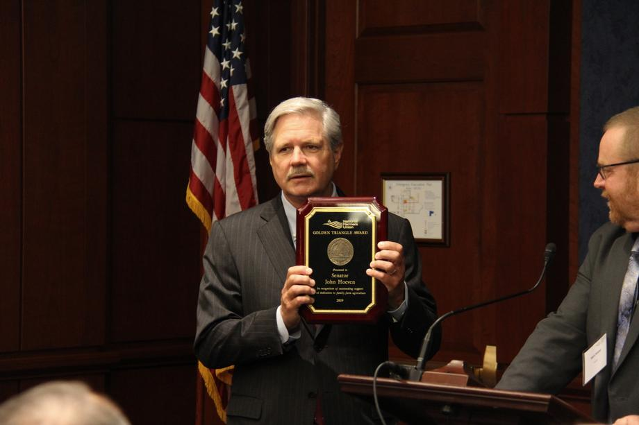 September 2019 - Senator Hoeven receiving NFU's Golden Triangle Award.
