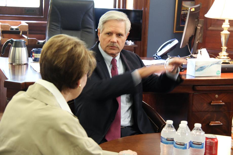 September 2019 - Senator Hoeven informing Barbara Barrett of North Dakota's military capabilities.