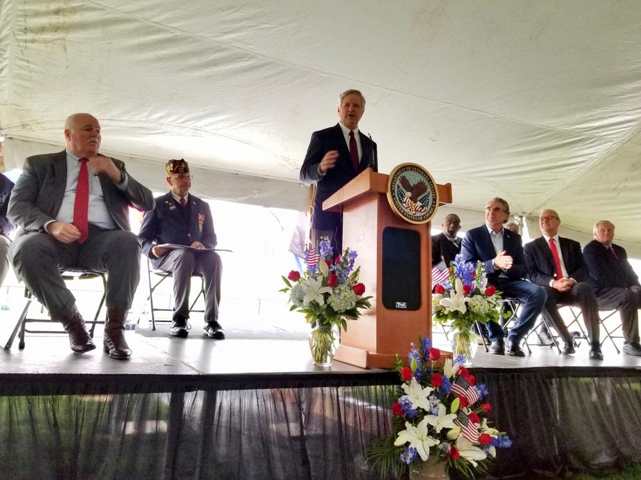 September 2019 - Senator Hoeven addressing the crowd at the dedication of North Dakota's first VA National Cemetery.