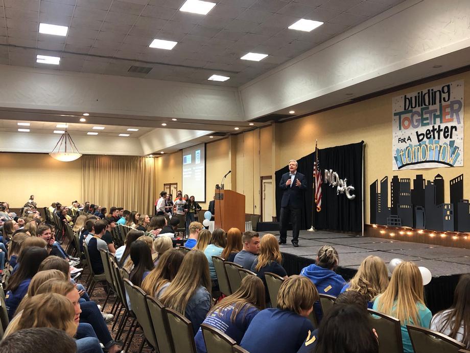 December 2019 - Senator Hoeven addresses the North Dakota Association of Student Councils Conference.