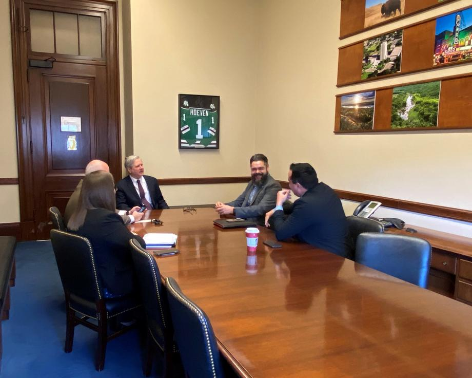 December 2019 - Senator Hoeven discusses tribe initiatives with Chairman Azure of Turtle Mountain Band of Chippewa Indians.