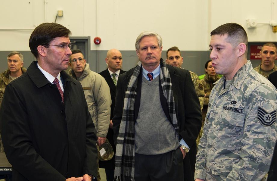 February 2020 - Senator Hoeven joins Defense Secretary Mark Esper at the Minot Air Force Base.