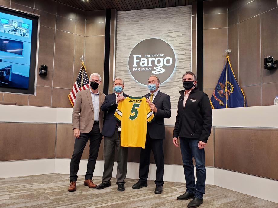 October 2020 - Senator Hoeven helps announce the new Amazon fulfillment center under development in north Fargo.