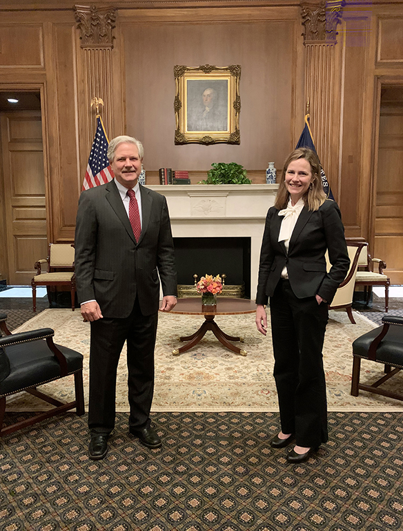 October 2020 - Senator Hoeven meets with Judge Amy Coney Barrett prior to her confirmation to serve as an Associate Justice on the U.S. Supreme Court.