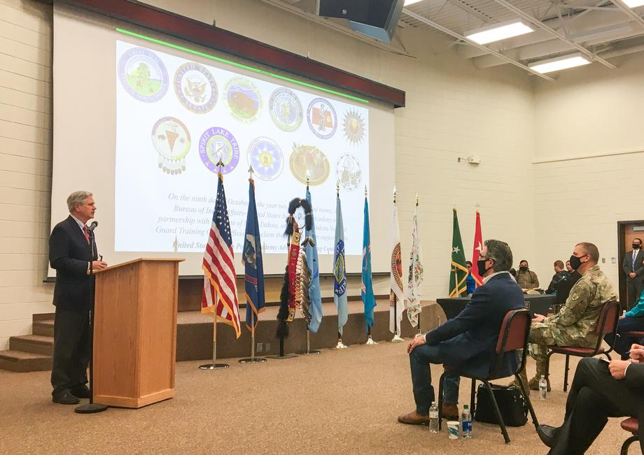 October 2020 - Senator Hoeven helps mark the opening of the U.S. Indian Law Enforcement Advanced Training Center at Camp Grafton.
