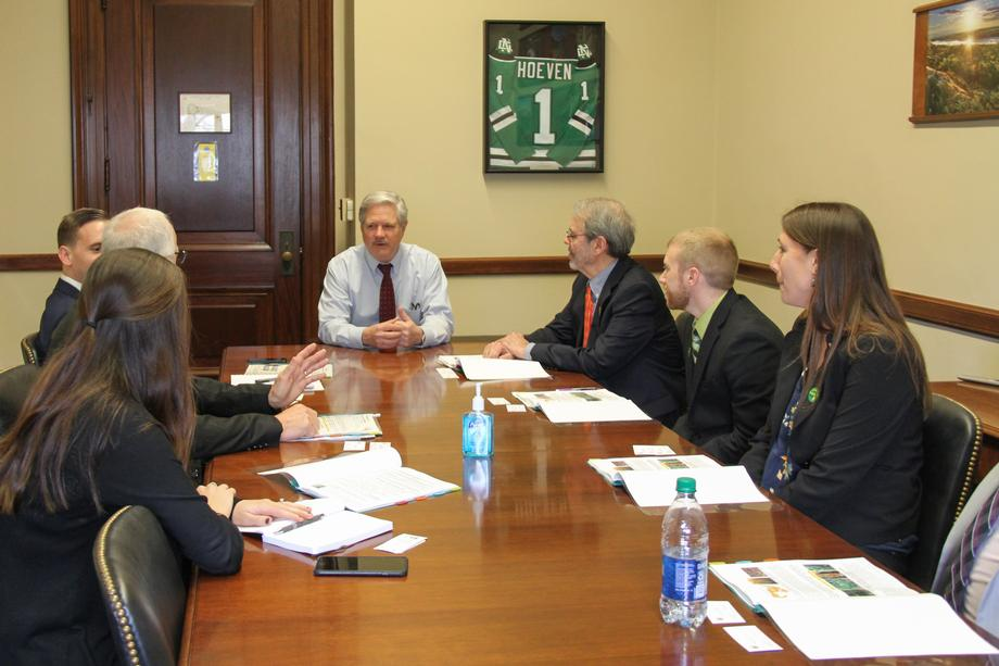 March 2020 - Senator Hoeven meets with North Dakota barley growers to discusses research efforts.