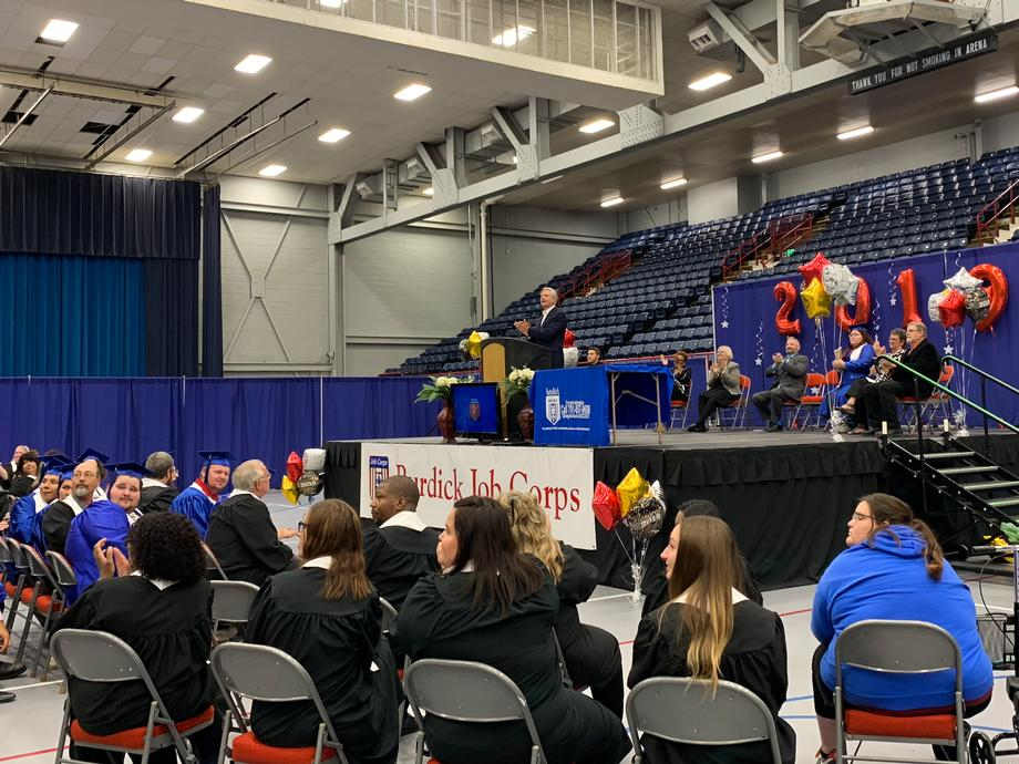August 2019 - Senator Hoeven at the Burdick Job Corps Graduation.