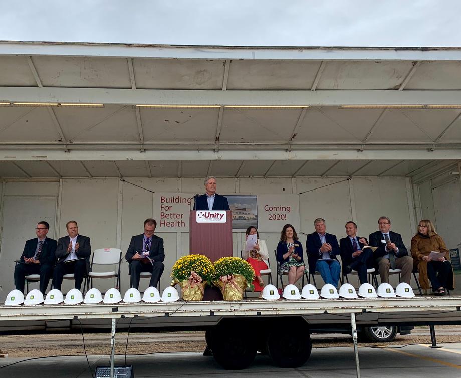 August 2019 - Senator Hoeven at the Unity Medical Center groundbreaking.