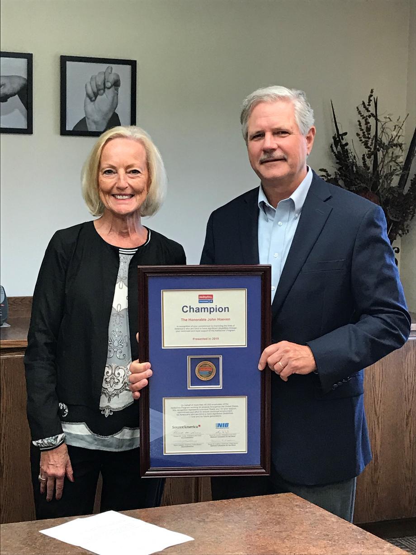 August 2019 - Senator Hoeven receiving the AbilityOne Champion Award.
